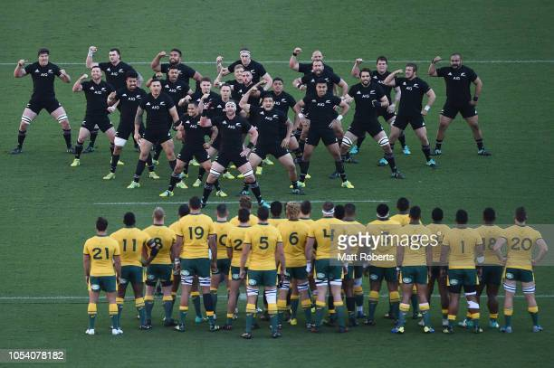 Players of the All Blacks perform the haka during the Bledisloe Cup test match between New Zealand All Blacks and Australian Wallabies at Nissan...
