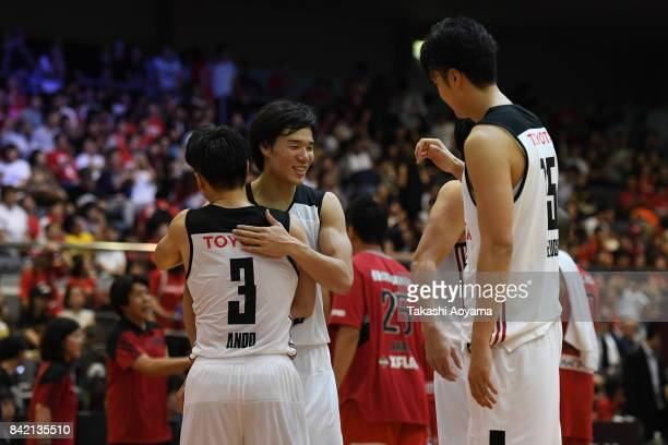 Players of the Alvark Tokyo celebrate after defeating the Chiba Jets 77-73 in the B.League Kanto Early Cup final between Alvark Tokyo and Chiba Jets...