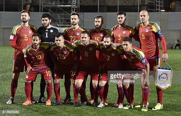 Players of the Andorra national football team Ludovic Clemente Chus Rubio Marcio Vieira Marc Pujol and Max Llovera Emili Garcia Josep Gomes Victor...