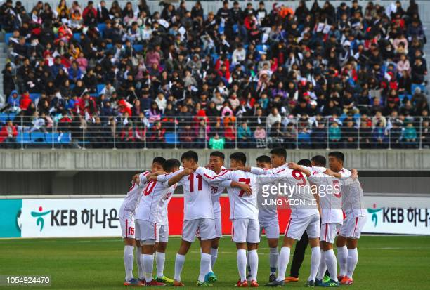 Players of the April 25 Sports Club of North Korea huddle before their match against the Gangwon-do team of South Korea during the 5th Ari Sports Cup...
