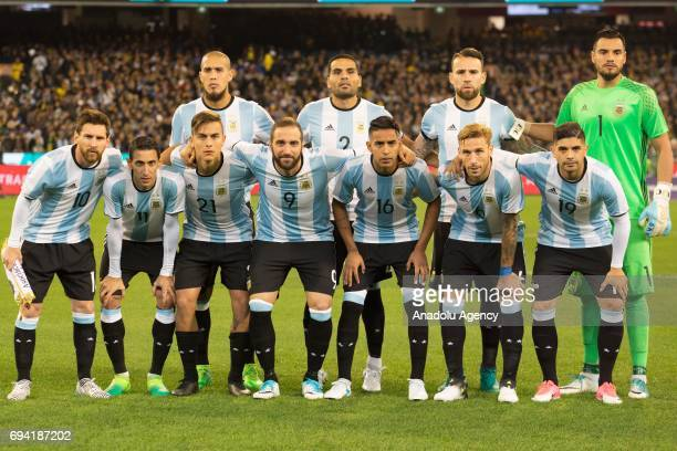 Players of the Argentina pose for a team photo before a friendly football international between Argentina and Brazil at the Melbourne Cricket Ground...