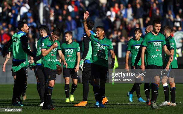 Players of the Atalanta BC celebrate a victory at the end of the Serie A match between Atalanta BC and AC Milan at Gewiss Stadium on December 22 2019...