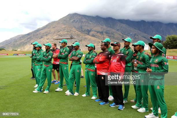 Players of the Bangladesh team look on afetr the ICC U19 Cricket World Cup match between Bangladesh and England at John Davies on January 18 2018 in...