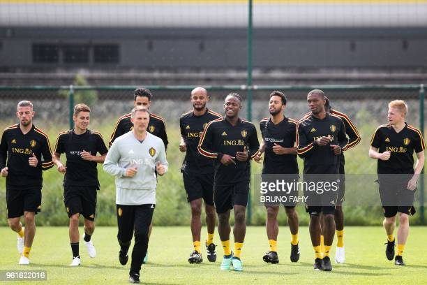 Players of the Belgian national football team Red Devils takes part in a training session on May 23 in Tubize At the start of the week head coach...