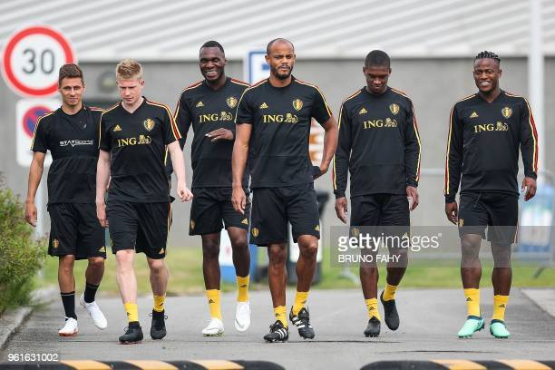 Players of the Belgian national football team Red Devils Thorgan Hazard Kevin De Bruyne Christian Benteke Vincent Kompany Christian Kabasele and...