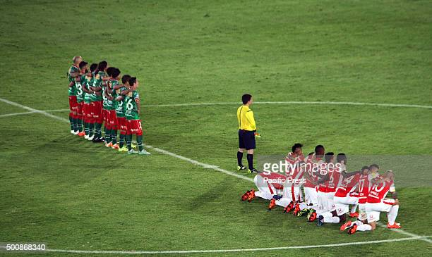 Players of the Bogota soccer team Santa Fe an the Huracán from Argentine during the match of Copa SUdamericana final. Santa Fe was crowned champion...