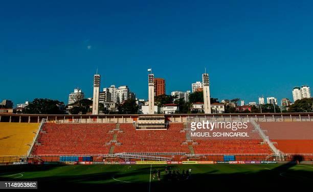 Players of the Brazilian national football team train at the Pacaembu stadium in Sao Paulo Brazil on June 10 2019 ahead of the Copa America football...
