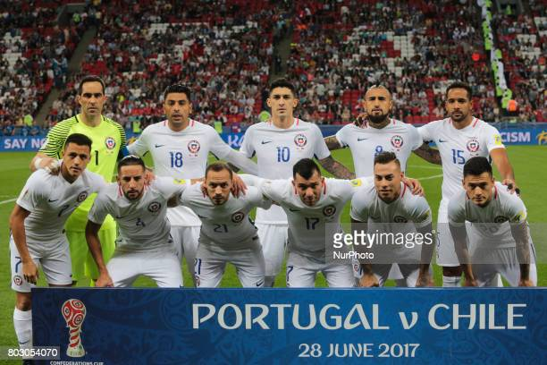 Players of the Chile national football team during the 2017 FIFA Confederations Cup match semifinals between Portugal and Chile at Kazan Arena on...