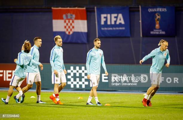 Players of the Croatian national team warm up prior to the FIFA 2018 World Cup Qualifier PlayOff First Leg between Croatia and Greece at Stadion...