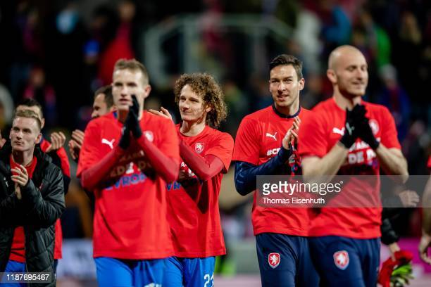Players of the Czech Republic celebrate after the UEFA Euro 2020 Qualifier between Czech Republic and Kosovo on November 14 2019 at Doosan Arena in...