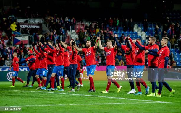 Players of the Czech Republic celebrate after the UEFA Euro 2020 Qualifier between Czech Republic and Kosovo on November 14, 2019 at Doosan Arena in...