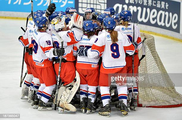 Players of the Czech Republic celebrate after winning in the match between Czech Republic and Switzerland during day two of the Ice Hockey Women's 5...