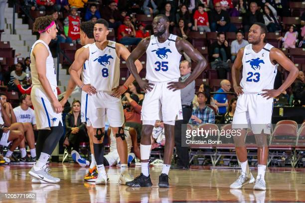 March 7: Players of the Delaware Blue Coats wait for the game officials decision during a game against the Mississauga Raptors 905 at the Paramount...