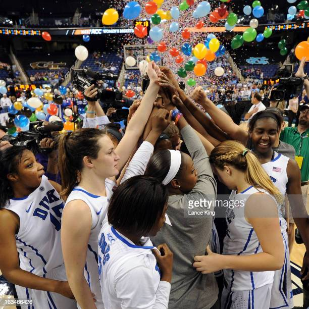 Players of the Duke Blue Devils celebrate following their 9273 victory against the North Carolina Tar Heels during the finals of the 2013 Women's ACC...