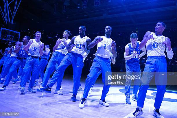 Players of the Duke Blue Devils dance during Countdown To Craziness at Cameron Indoor Stadium on October 22 2016 in Durham North Carolina