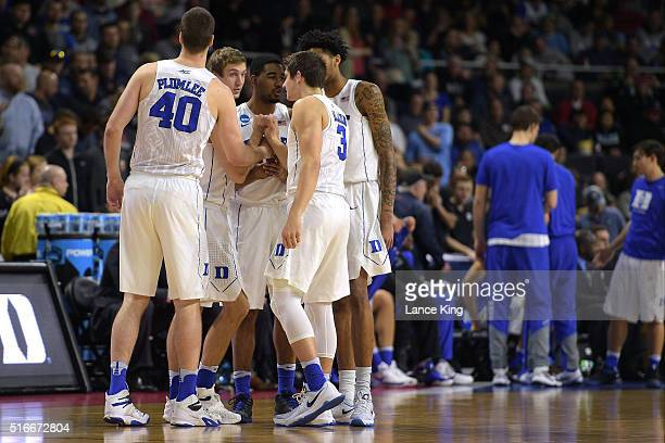Players of the Duke Blue Devils huddle during their game against the Yale Bulldogs during the second round of the 2016 NCAA Men's Basketball...