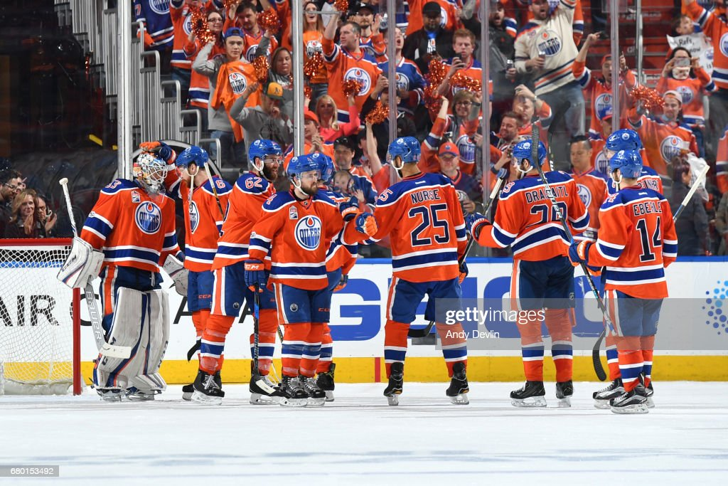 Players of the Edmonton Oilers celebrate after winning Game Six of the Western Conference Second Round during the 2017 NHL Stanley Cup Playoffs against the Anaheim Ducks on MAY 7, 2017 at Rogers Place in Edmonton, Alberta, Canada.