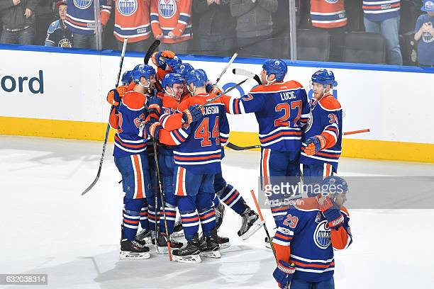 Players of the Edmonton Oilers celebrate after winning the game against the Florida Panthers on January 18 2017 at Rogers Place in Edmonton Alberta...