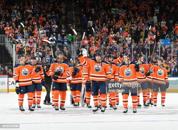 Players of the Edmonton Oilers salute the crowed following the game against the Vancouver Canucks on April 7 2018 at Rogers Place in Edmonton Alberta...