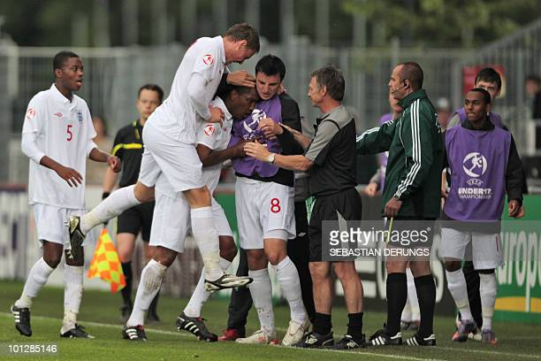 Players of the England under 17 football team react after first goal against Spain during their UEFA Euro 2010 Under 17 Football championship Final...