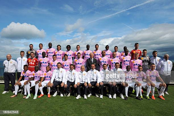 Players of the EvianThonon Gaillard L1 football club pose for an official picture on September 18 2013 in EvianlesBains eastern France Colombian...