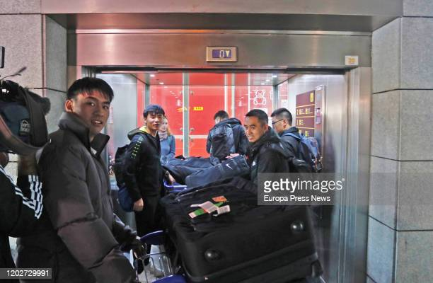 Players of the football team of Wuhan 'Ground Zero' of the Coronavirus at the Airport of Malaga after their arrival for preseason on January 29 2020...