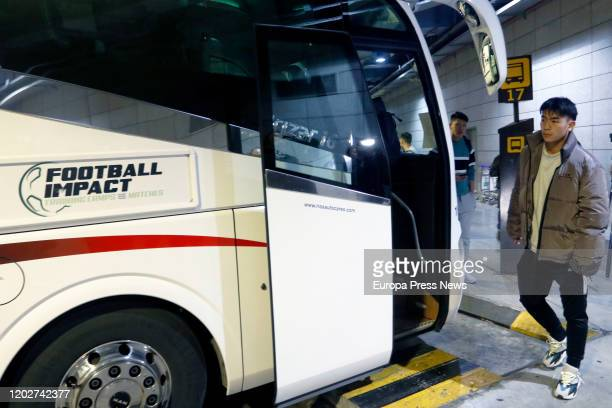 Players of the football team of Wuhan 'Ground Zero' of the Coronavirus getting on a bus at the Airport of Malaga after their arrival for preseason on...