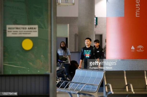 Players of the football team of Wuhan 'Ground Zero' of the Coronavirus at the Airport of Malaga after the arrival of the team for preseason on...