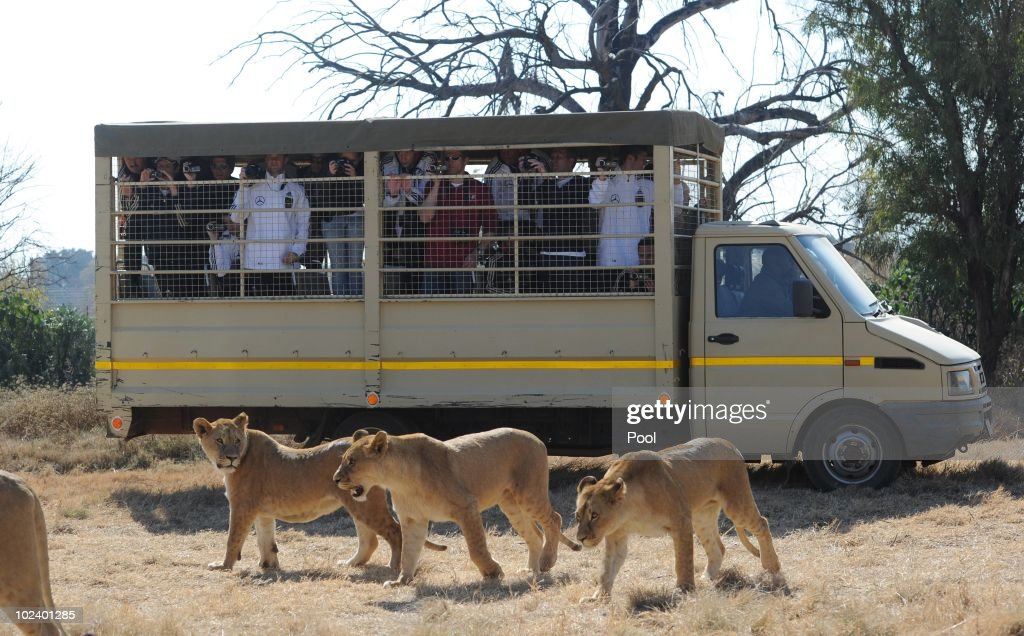 Players of the German National Team drive with a van during a visit of the Lion Park on June 25, 2010 in Lanseria, South Africa.