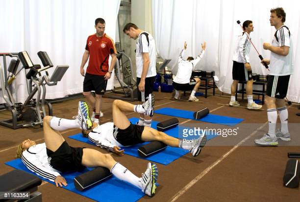 Players of the German National team practice during a training session at Son Moix stadium on May 21 2008 in Mallorca Spain