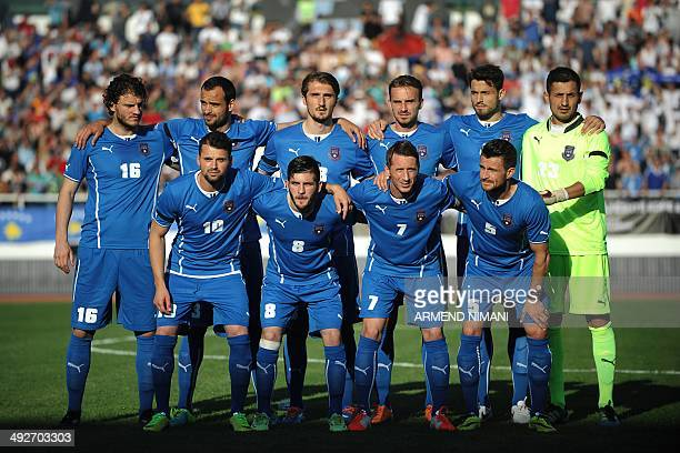 Players of the Kosovo national football team pose for a group photo before their friendly football match against Turkey in the town of Mitrovica...