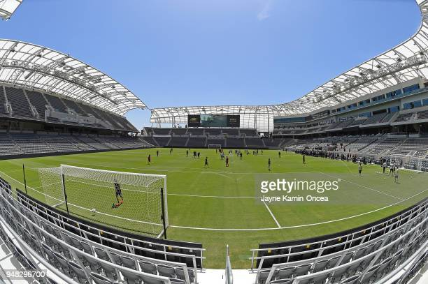 Players of the Los Angeles FC practice for the first time on the field at the Banc of California Stadium on April 18 2018 in Los Angeles California