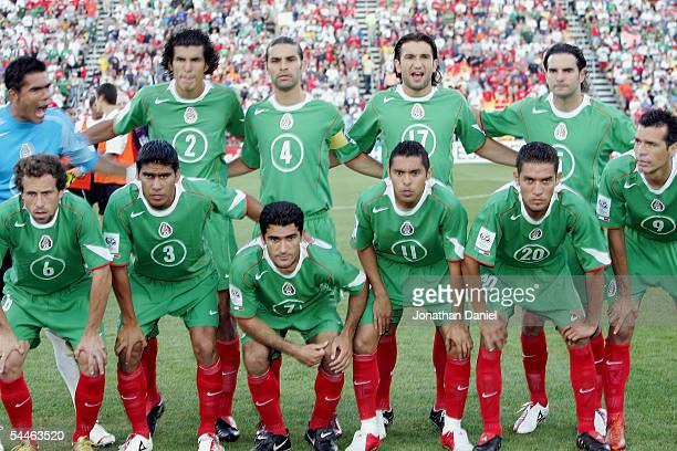 Players of the Mexican team pose for a group photo prior to their 2006 World Cup Qualifying match against the USA at Crew Stadium on September 3 2005...