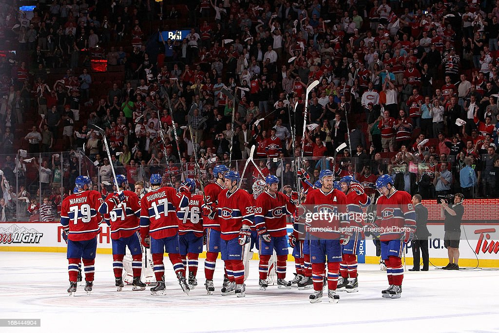 Players of the Montreal Canadiens salutes the crowd at centre ice after a 6-1 loss in Game Five of the Eastern Conference Quarterfinals during the 2013 NHL Stanley Cup Playoffs at the Bell Centre on May 9, 2013 in Montreal, Quebec, Canada.