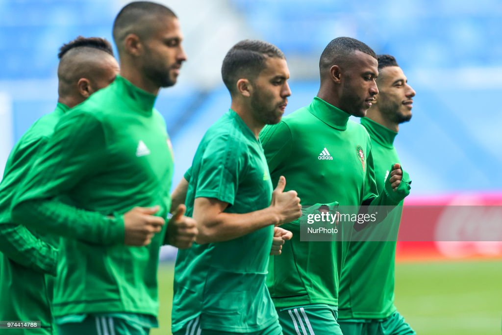 Players of the Morocco national football team takes part in a training session at Saint Petersburg Stadium in Saint Petersburg on June 14, 2018, ahead of a the 2018 FIFA World Cup match, between Morocco and Iran.