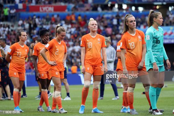 Players of the Netherlands look dejected following the 2019 FIFA Women's World Cup France Final match between The United States of America and The...