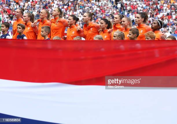Players of the Netherlands look on prior to the 2019 FIFA Women's World Cup France Final match between The United States of America and The...