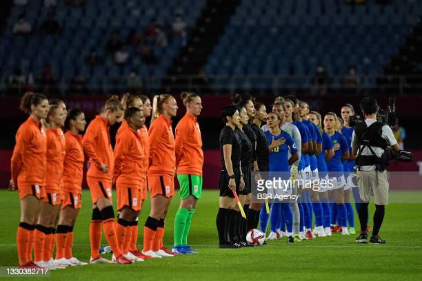 Players of the Netherlands, Marta of Brazil, Debinha of Brazil, Erika of Brazil, Beatriz of Brazil, Andressinha of Brazil, Formiga of Brazil during...