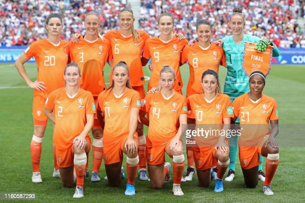 Players of the Netherlands pose for a team photograph prior to the 2019 FIFA Women's World Cup France Final match between The United States of...