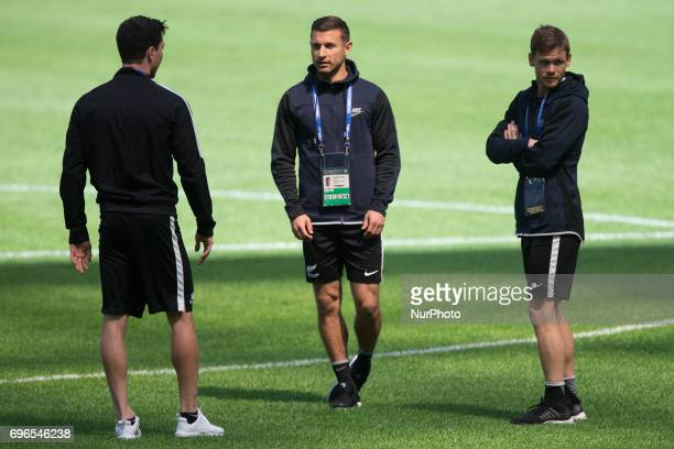Players of the New Zealand national football team at a training session ahead of their 2017 FIFA Confederations Cup match against Russia at Saint...