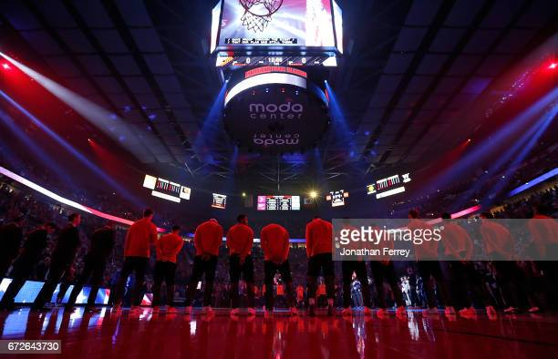 Players of the Portland Trail Blazers stand for the national anthem before the game against the Golden State Warriors during Game Three of the...