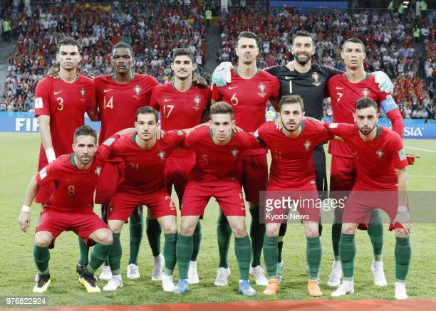 Players of the Portugal national team pose for photos before a World Cup group stage match against Spain at Fisht Stadium in Sochi Russia on June 15...
