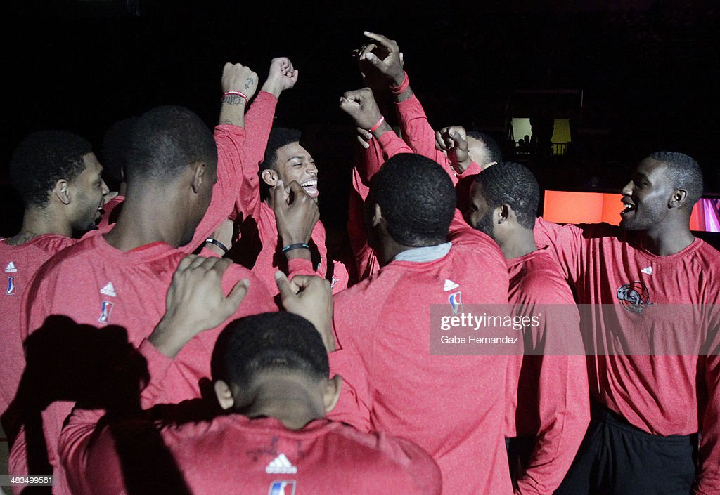 Players of the Rio Grande Valley Vipers celebrate before playing against the Iowa Energy on April 8, 2014 during game one first round of the 2014 NBA-Development League playoffs at the State Farm Arena in Hidalgo, Texas.