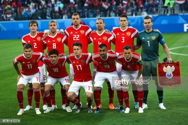Players of the Russia national football team during the 2018 FIFA World Cup match first stage Group A between Russia and Egypt at Saint Petersburg...