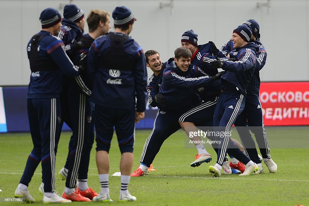 Players of the Russia national soccer team seen during training session of Russian national soccer team at Arena Khimki in Russia, Moscow before UEFA Euro 2016 qualifying Group G soccer match against Montenegro national soccer team.