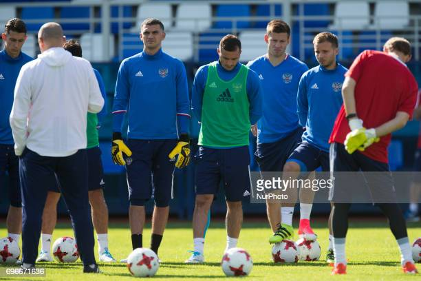 Players of the Russian national football team at a training session ahead of their 2017 FIFA Confederations Cup match against New Zealand at Saint...