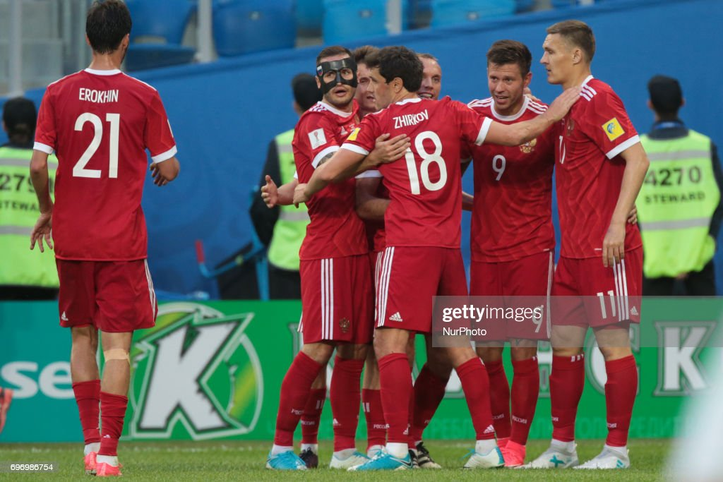 Players of the Russian national football team celebrates after scoring goal during the 2017 FIFA Confederations Cup match, first stage - Group A between Russia and New Zealand at Saint Petersburg Stadium on June 17, 2017 in St. Petersburg, Russia.