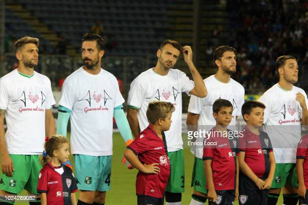 Players of the Sassuolo during the serie A match between Cagliari and US Sassuolo at Sardegna Arena on August 26 2018 in Cagliari Italy