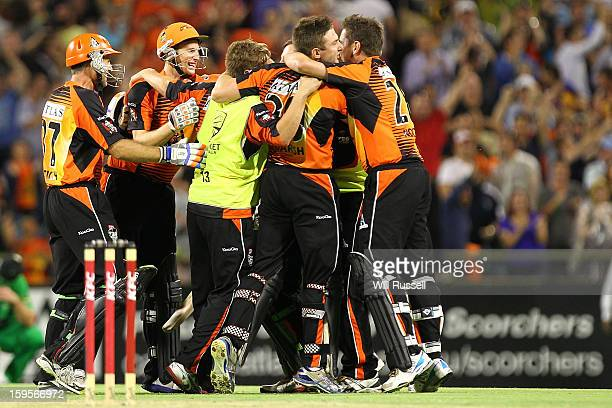 Players of the Scorchers celebrate the teams win during the Big Bash League semifinal match between the Perth Scorchers and the Melbourne Stars at...