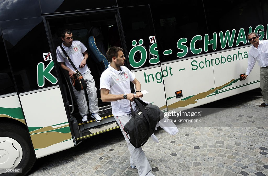Players of the Serbian national football team get off their bus as the national football team arrives at the Hotel Krallerhof in Leogang, on May 25, 2010 where the Serbian national football team is staying while holding a training camp to prepare for the 2010 World Cup in South Africa.